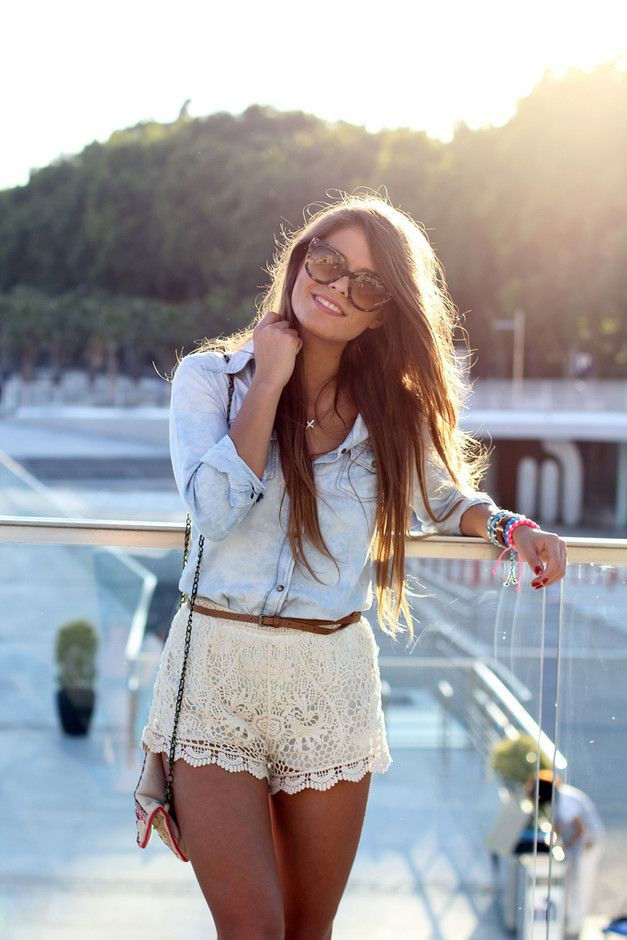 White lace short outfits, Casual wear