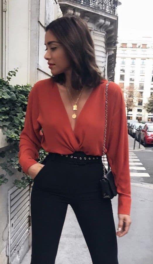 Black pants red shirt, Casual wear