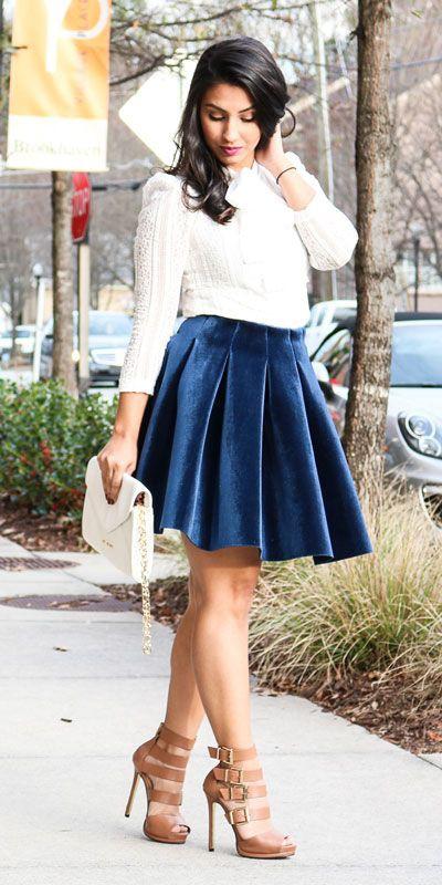 Velvet skirt and blouse, Navy blue