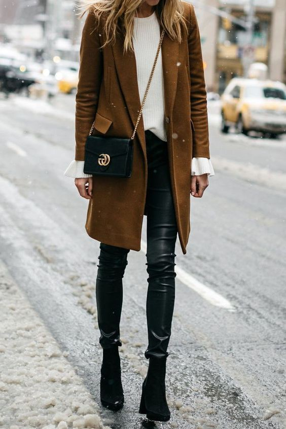 Leather Pant Outfits For Women, Polo coat, Leather Skinnies