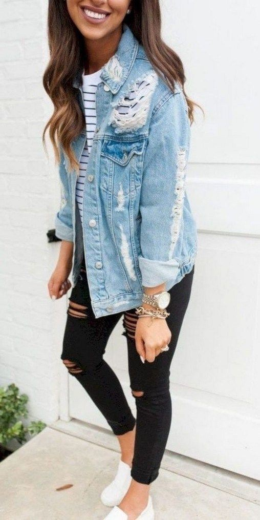 Ripped denim jacket outfits, Jean jacket