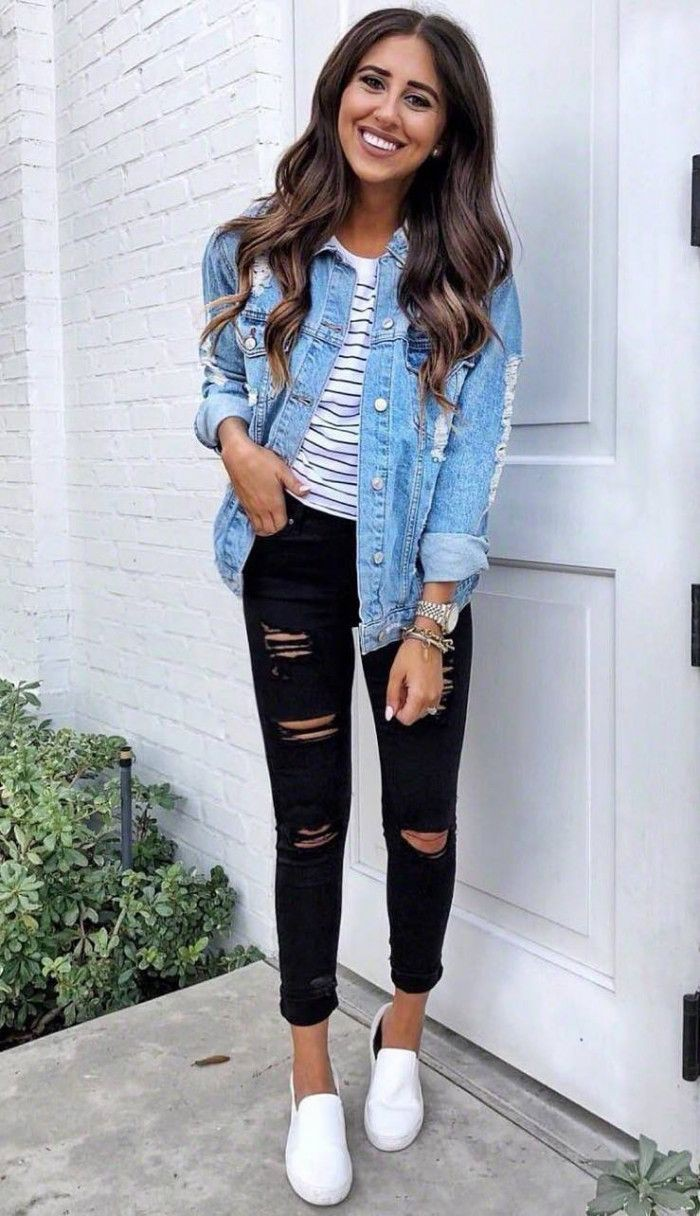Black ripped jean outfits, Jean jacket