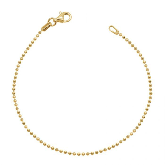 Yellow Gold Plated Sterling Silver 1.5mm Ball Bead Link Bracelet £13.00