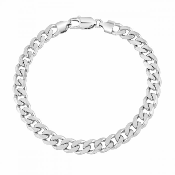 Sterling Silver 7.3mm Diamond Cut Curb Link Bracelet £55.00