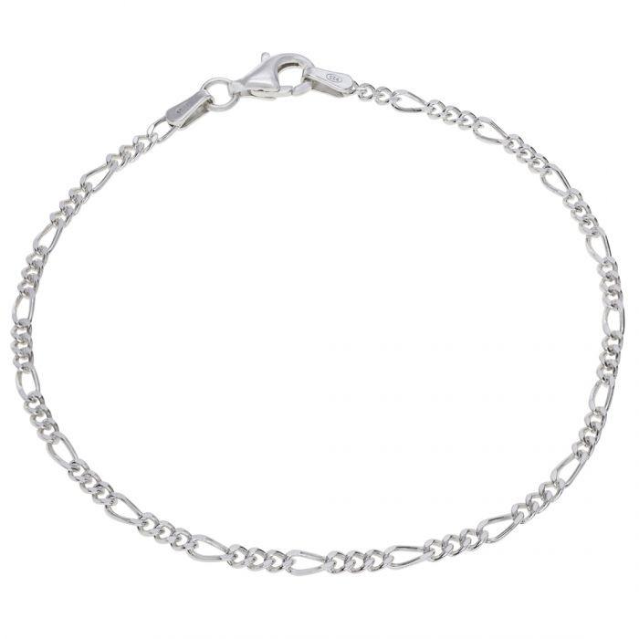 Sterling Silver 2mm Diamond Cut Figaro Link Bracelet £11.00