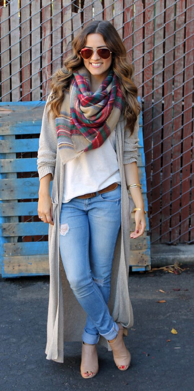 Long cardigan with scarf, Winter clothing