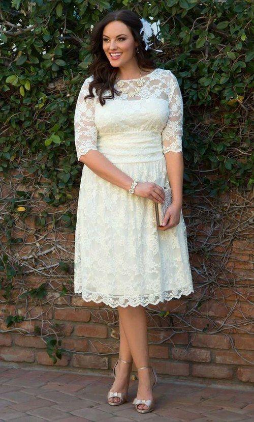 Short lace wedding dress plus size