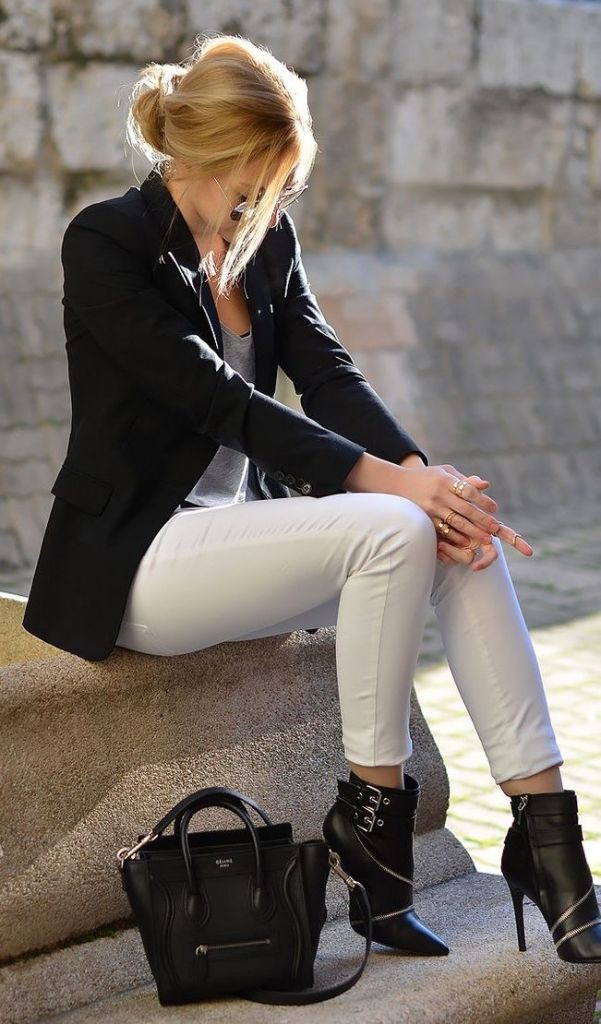 White pants black boots outfit