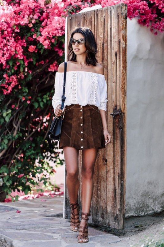 White off the shoulder top with skirt
