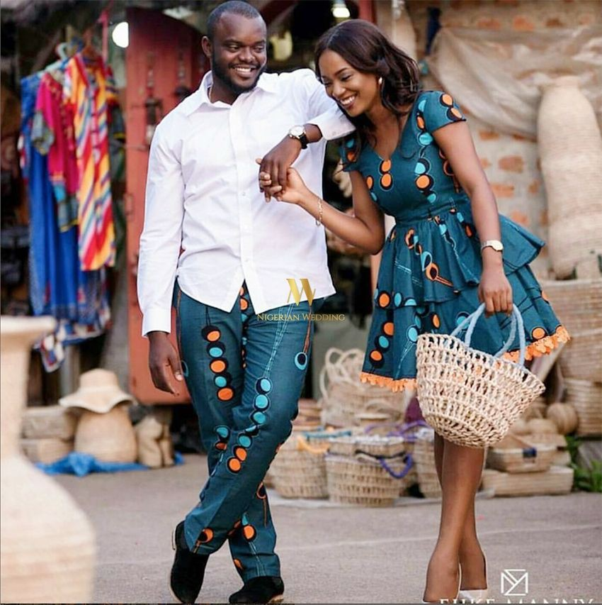Classy Blue Matching Ankara Outfits For Couples