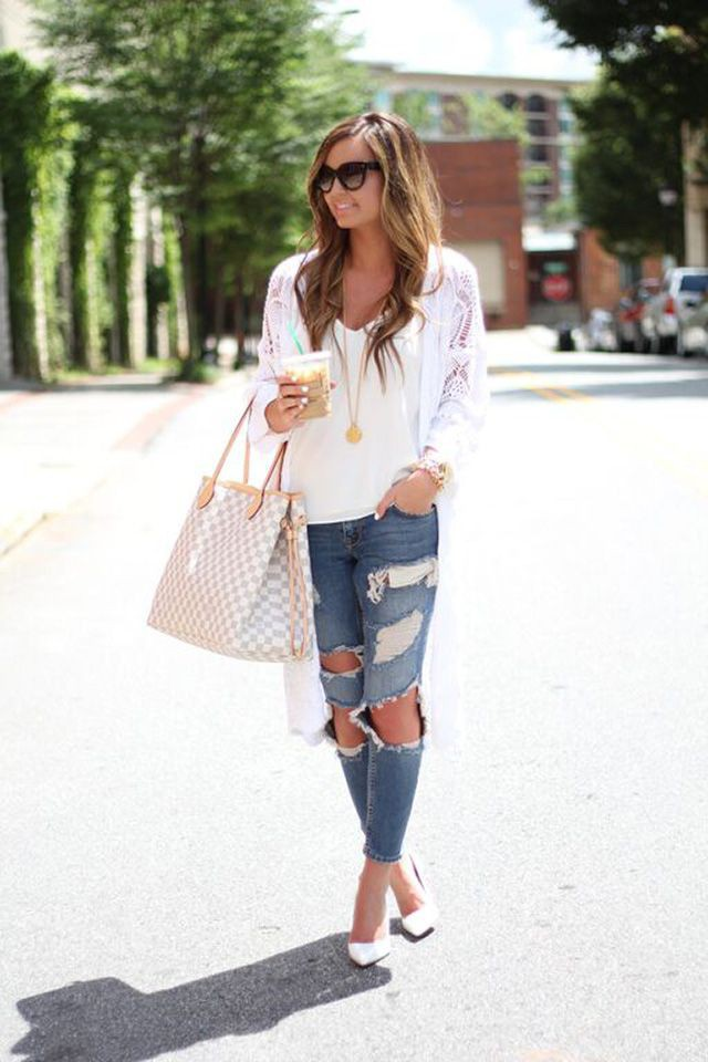 Stylish Outfits With Long Cardigan, Polka dot