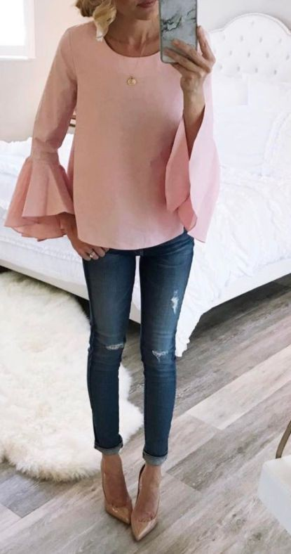 Blush bell sleeve top outfit