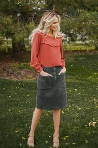 Black Corduroy Skirt Outfit, Photo