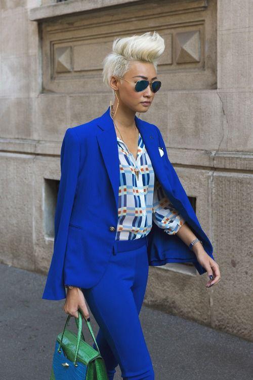 Cobalt blue suit women street style