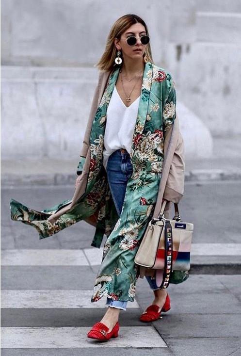 Kimono outfits with jeans, Wrap dress