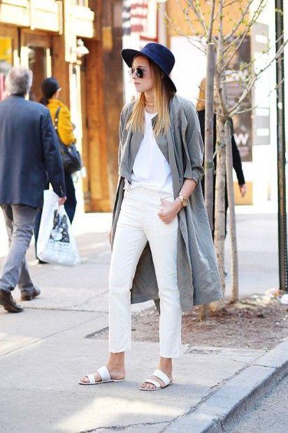White slides white jeans, Slim-fit pants
