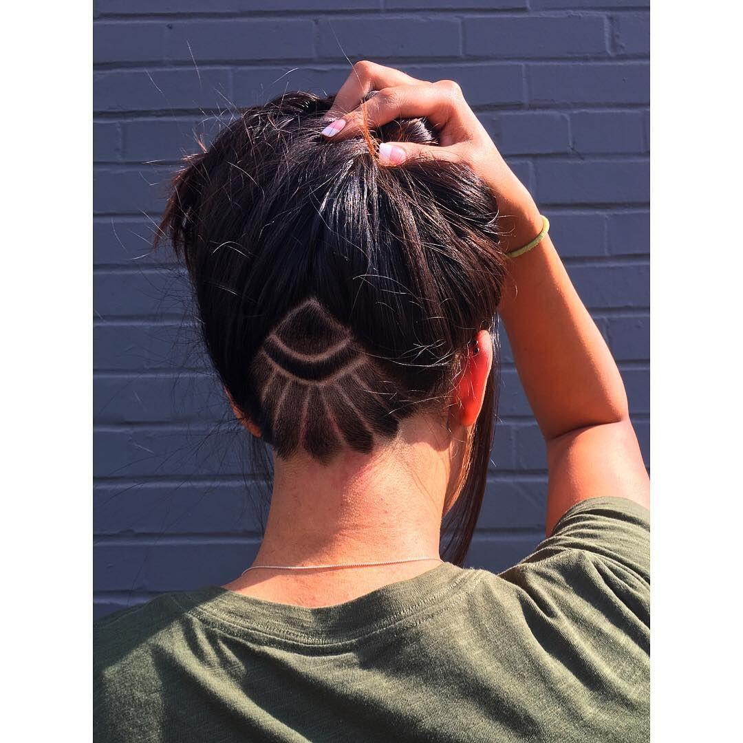Woman Undercut Tattoo Hair Style Undercut Bob Hairstyles