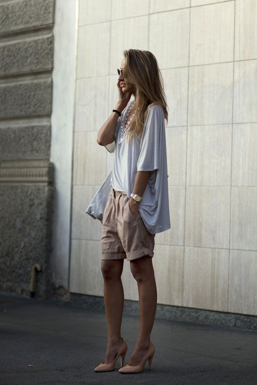 Knee Length Shorts Outfits Plus Size