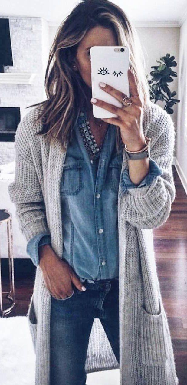 Denim shirt winter outfit, Jean jacket