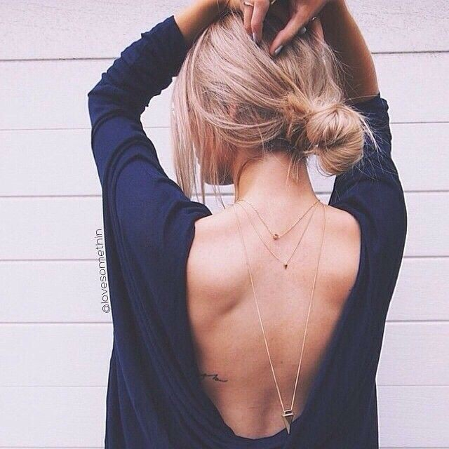 Open Back Blue Shirt Outfits