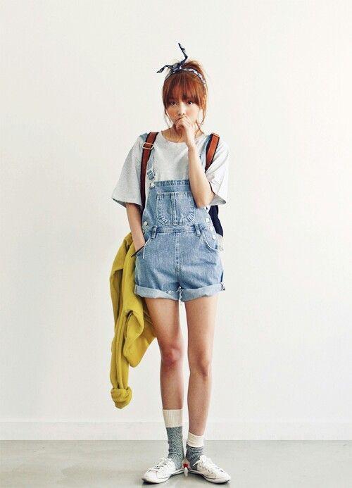 Korean style short overalls, Denim skirt