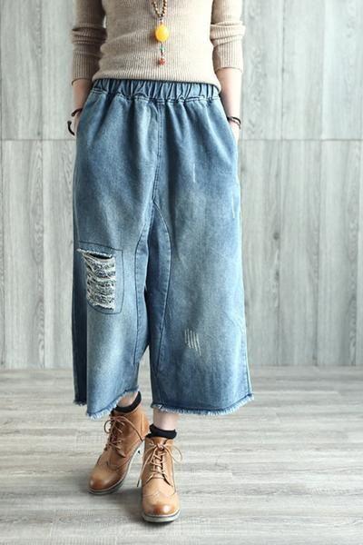 Trendy Classy Palazzo Pants For Ladies Broken Hole Cowboy J…