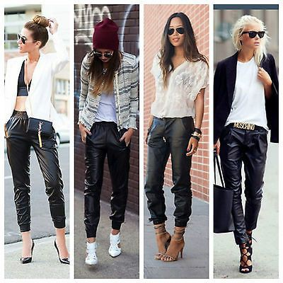 Faux leather joggers outfit, Casual wear