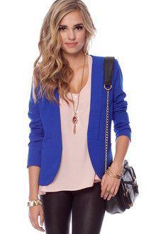 Bright blue blazer women, Royal blue