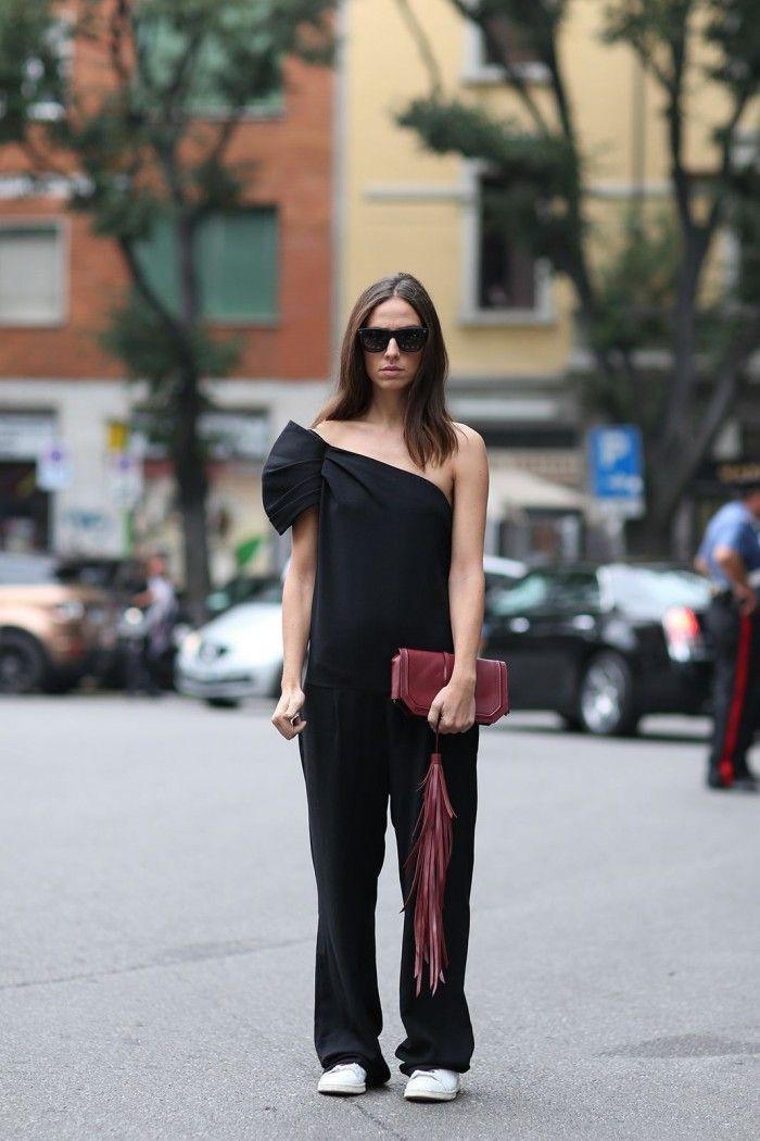 One shoulder dress street style