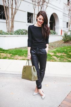 Faux leather joggers outfit, Flight jacket