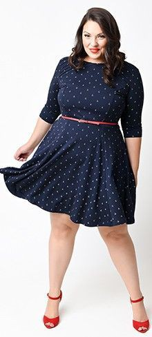 Plus size anchor dress, Polka dot