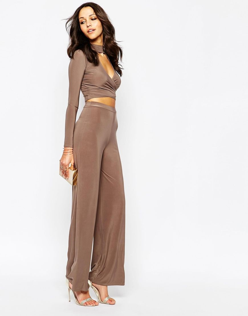 Stylish Flare Palazzo Pants For Lunch Boohoo Key Hole Top Palazzo Trouser Co-ord Set at asos.com