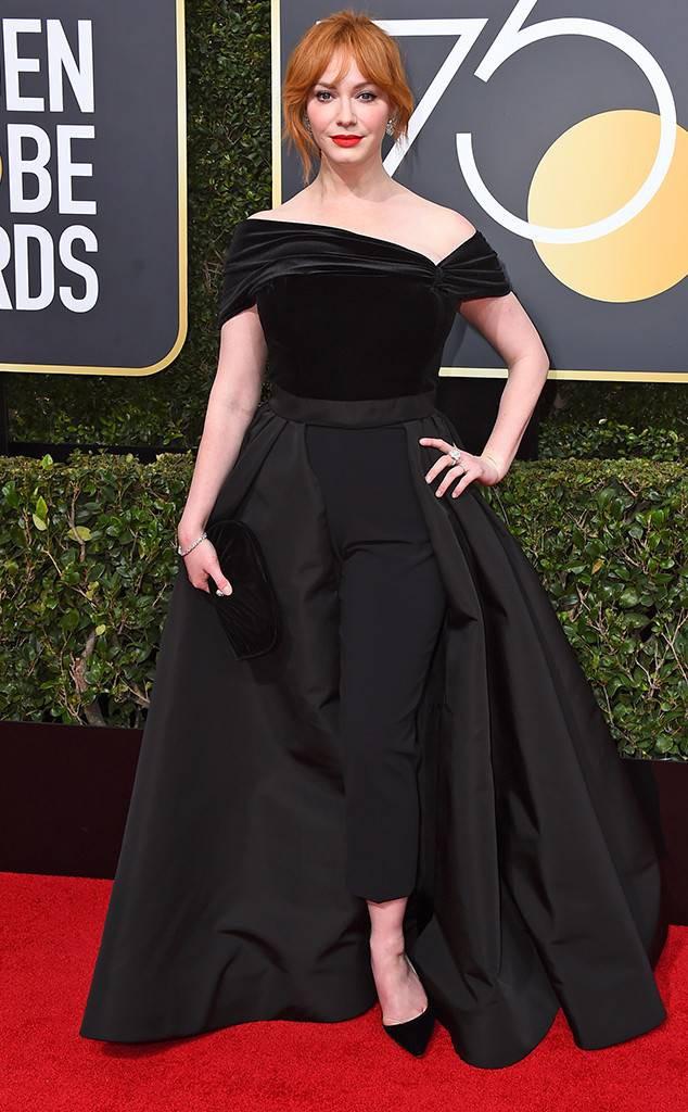 CHRISTINA HENDRICKS at the 2018 Golden Globes, Red Carpet Fashion