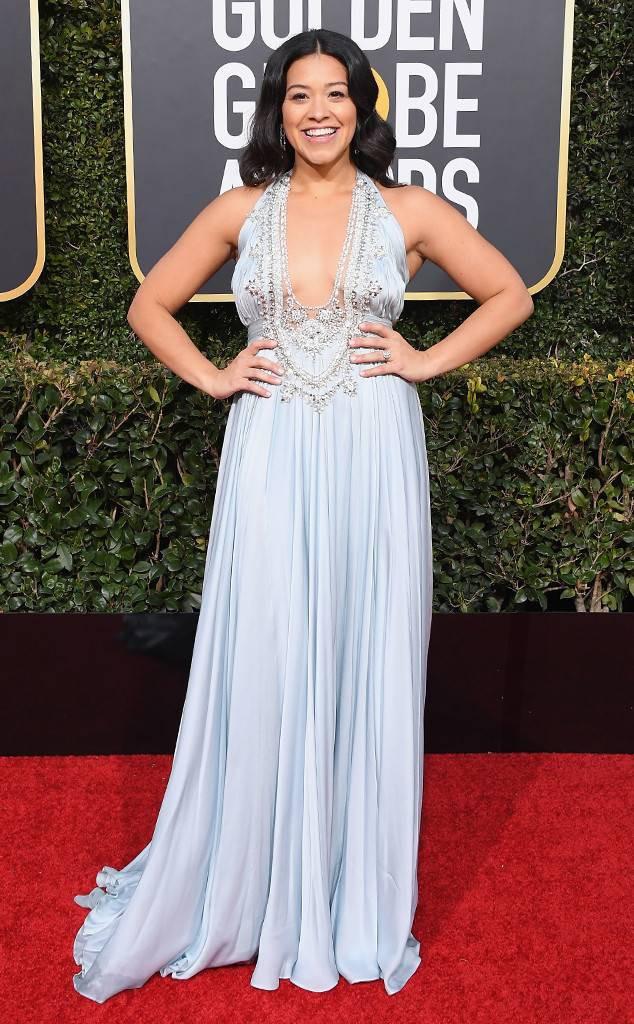 GINA RODRIGUEZ at the 2019 Golden Globes Red Carpet Best Dress