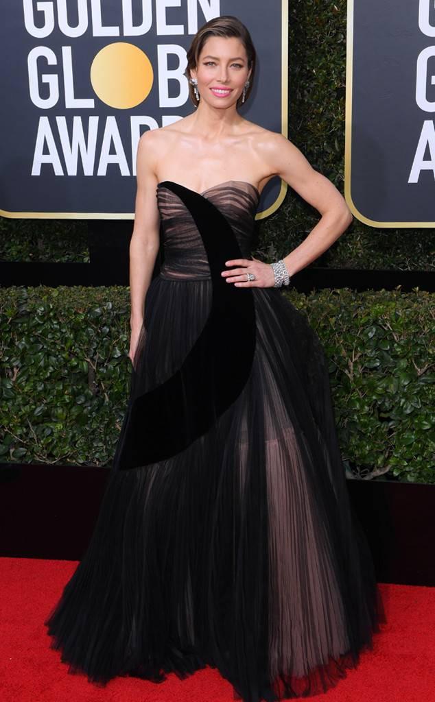 JESSICA BIEL at the 2018 Golden Globes, Red Carpet Event