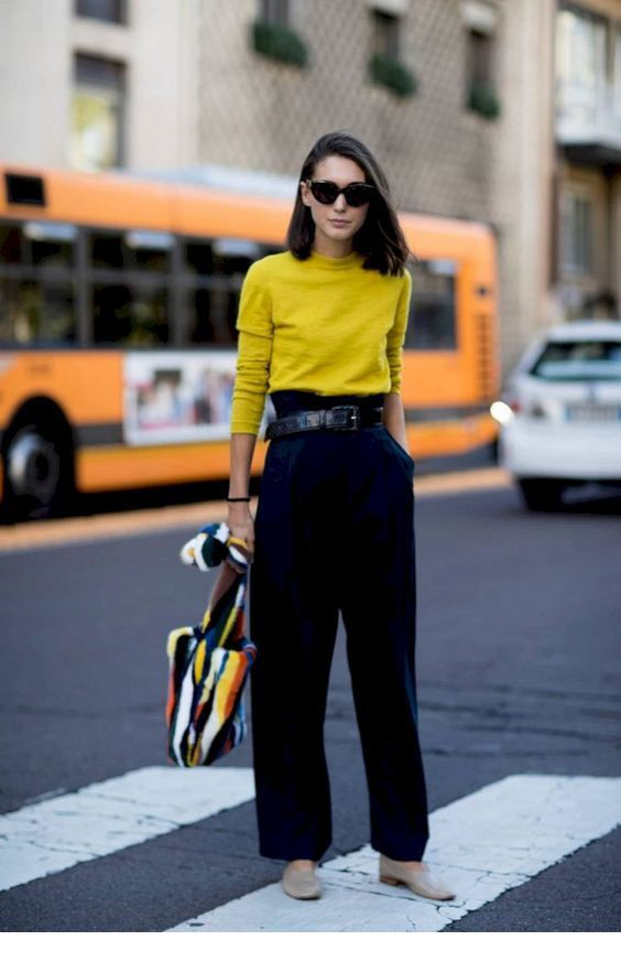 Classy Bright Yellow Yellow Top With Black Pant