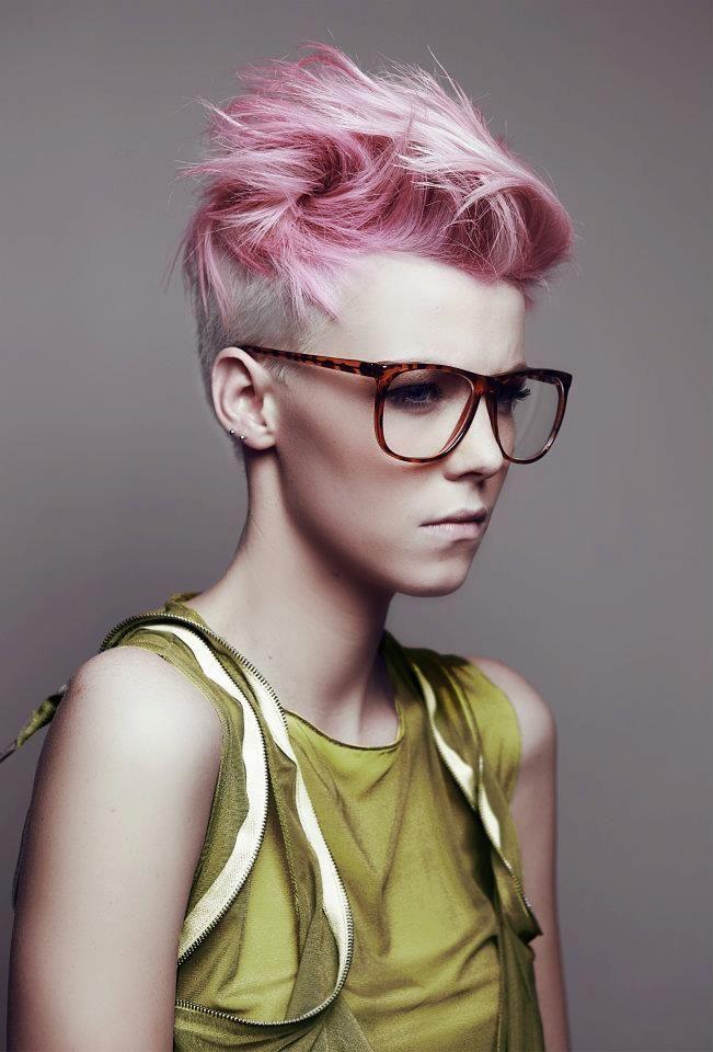 Short pink pixie haircut, Pixie cut