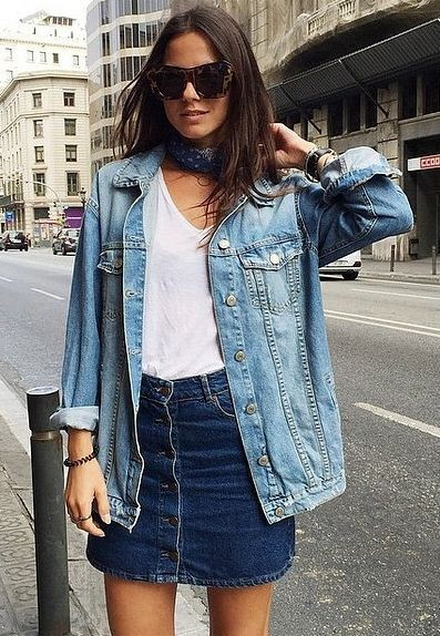 Jean jacket and skirt outfit