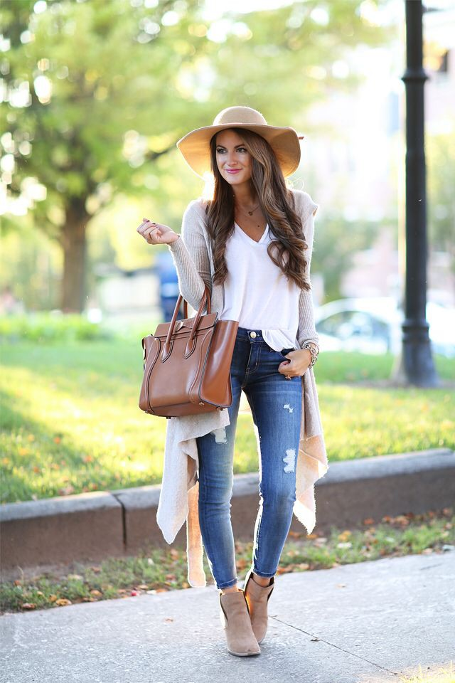 Floppy hat outfits fall, Casual wear