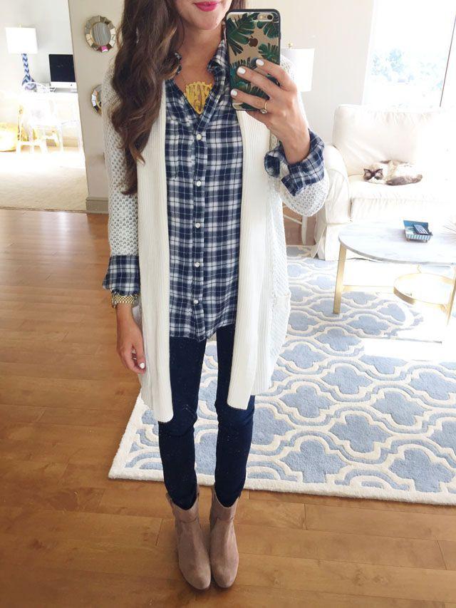 Plaid shirt with cardigan, Dress shirt