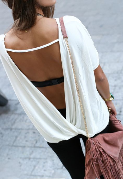 Open back shirt with bra