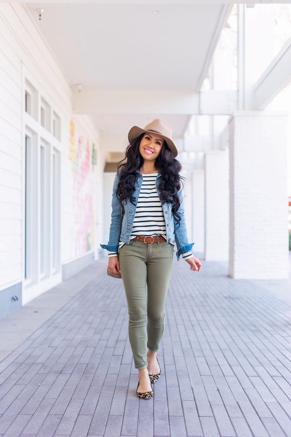 Green pants outfit with jean jacket  Denim Vest Outfit Ideas