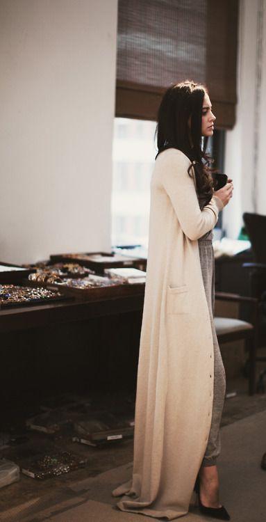 Floor length sweater coat, Cashmere wool