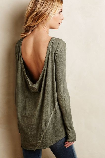 Scoop neck Backless dress Open Back Shirt Outfits