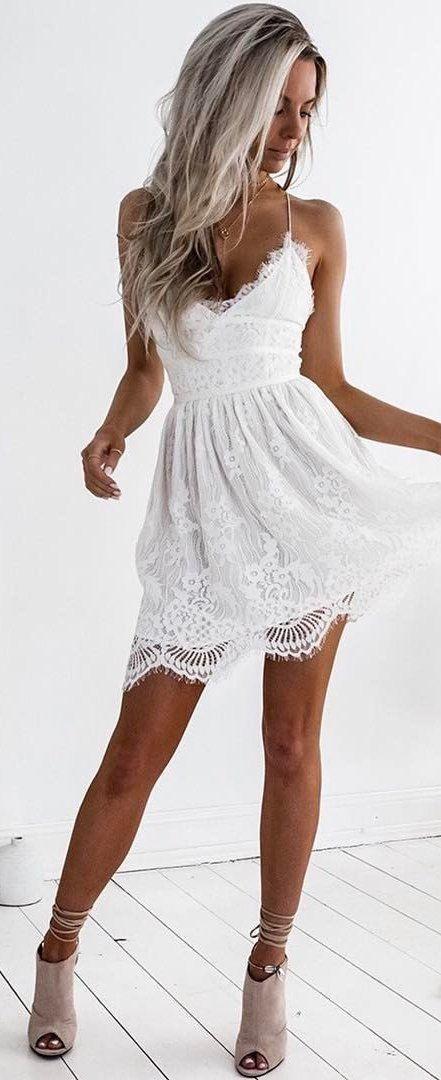 White crochet lace little dress