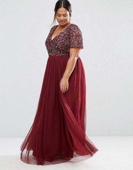 Lovedrobe Luxe V Neck Maxi Tulle Dress With Tonal Delicate Sequins   ASOS Cute Cocktail Dress Fo ...