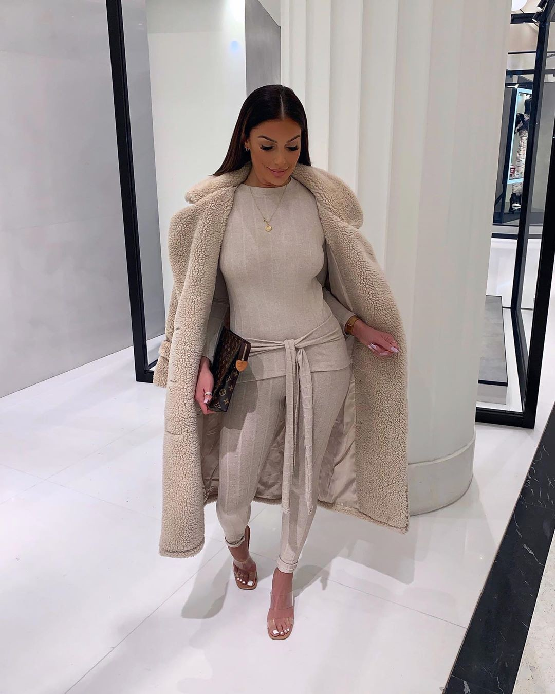 beige colour outfit with fur trench coat, overcoat, coat