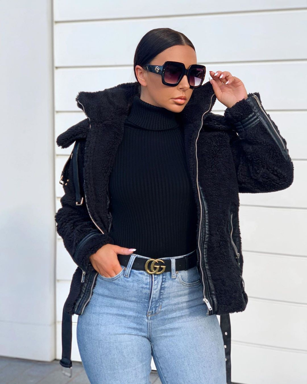 black colour dress with denim, jeans, Cool Girls