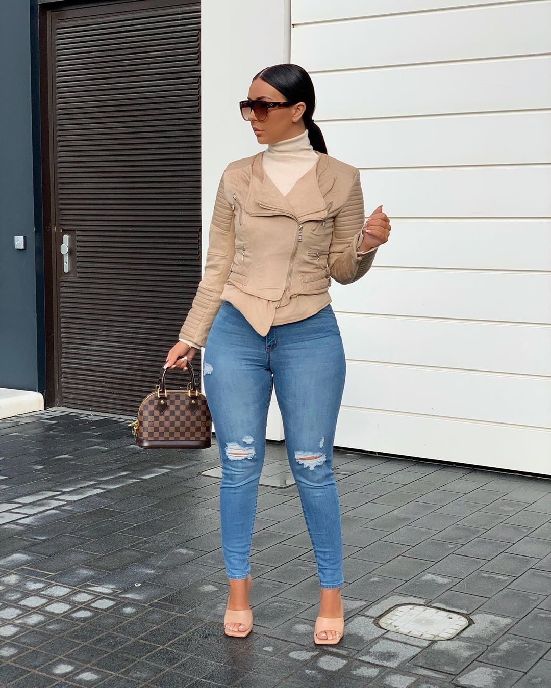 Brown and white denim, jeans, outfit designs