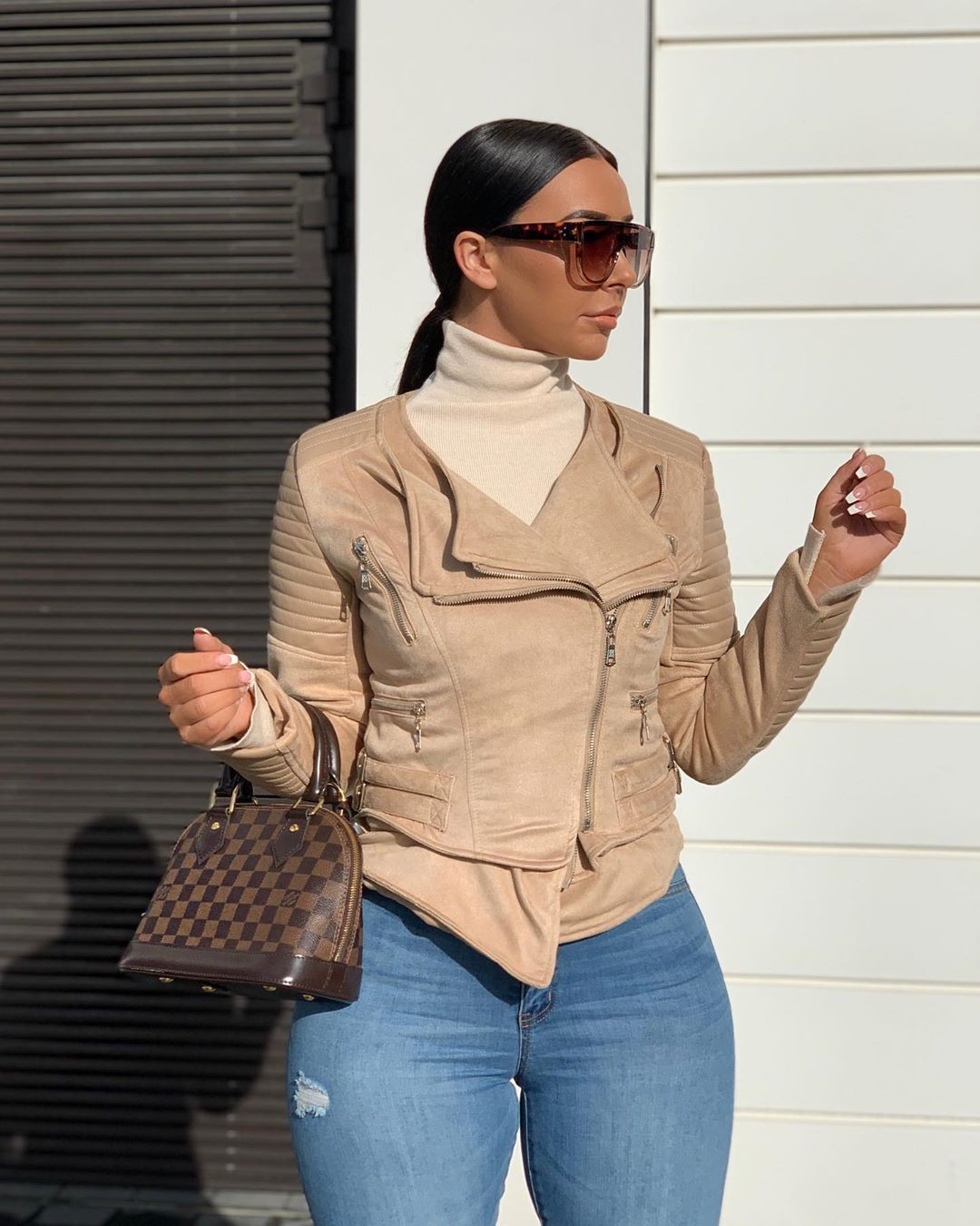 beige colour outfit with jacket, denim, jeans